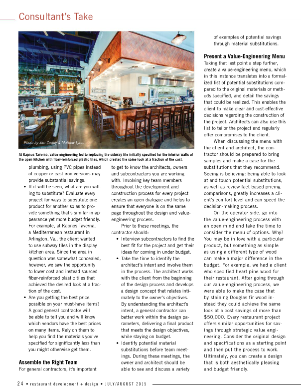Hospitality construction services featured in restaurant